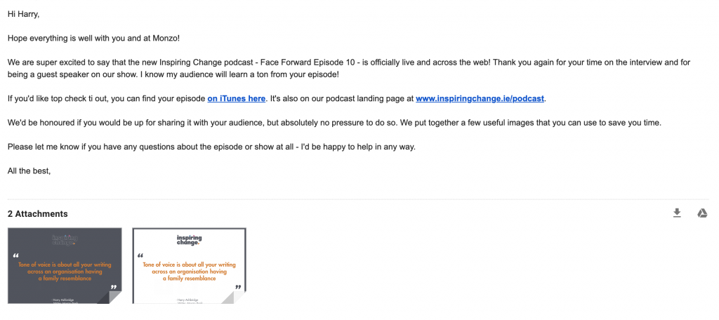 Sample Podcast Promotion Email Template - How to promote a podcast online