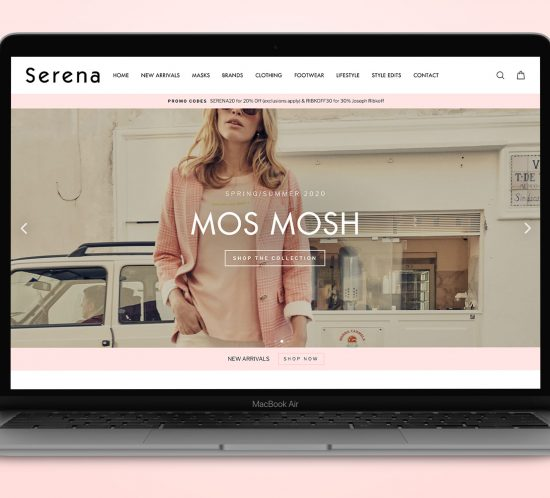 Serena Fashion Boutique Macbook Mockup Shopify Website